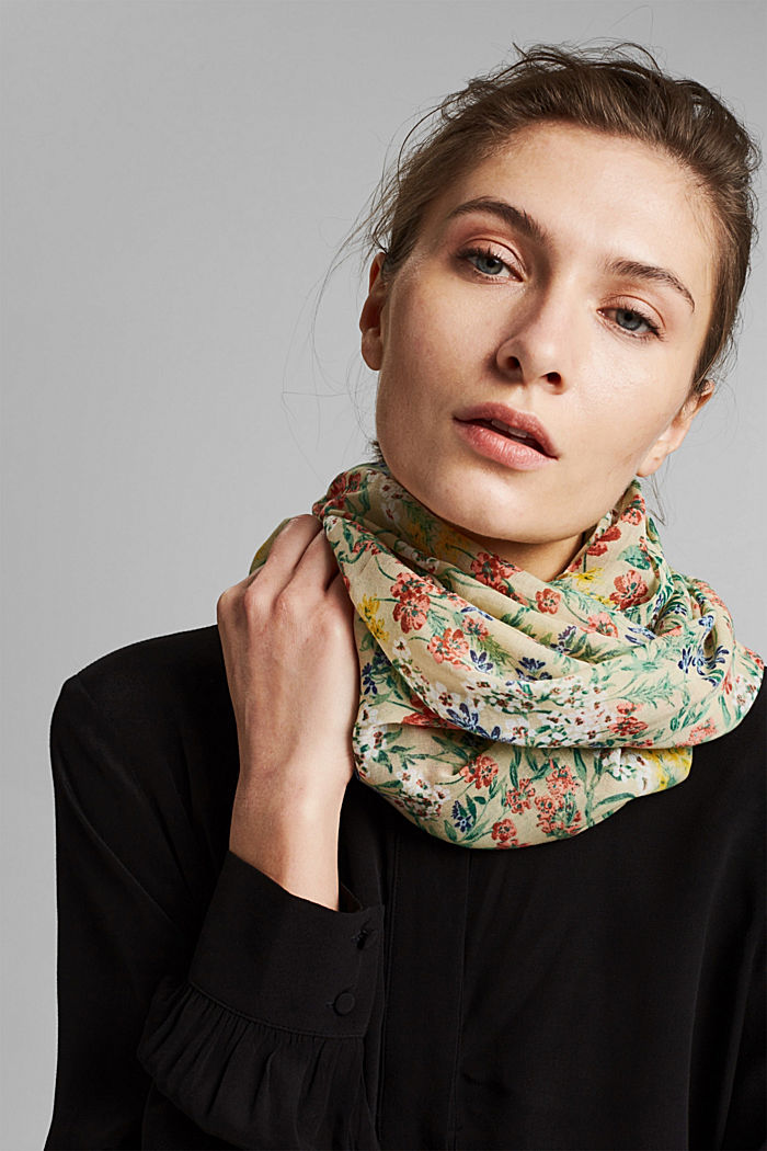 Recycled: snood scarf with a floral print, SAND, detail image number 1
