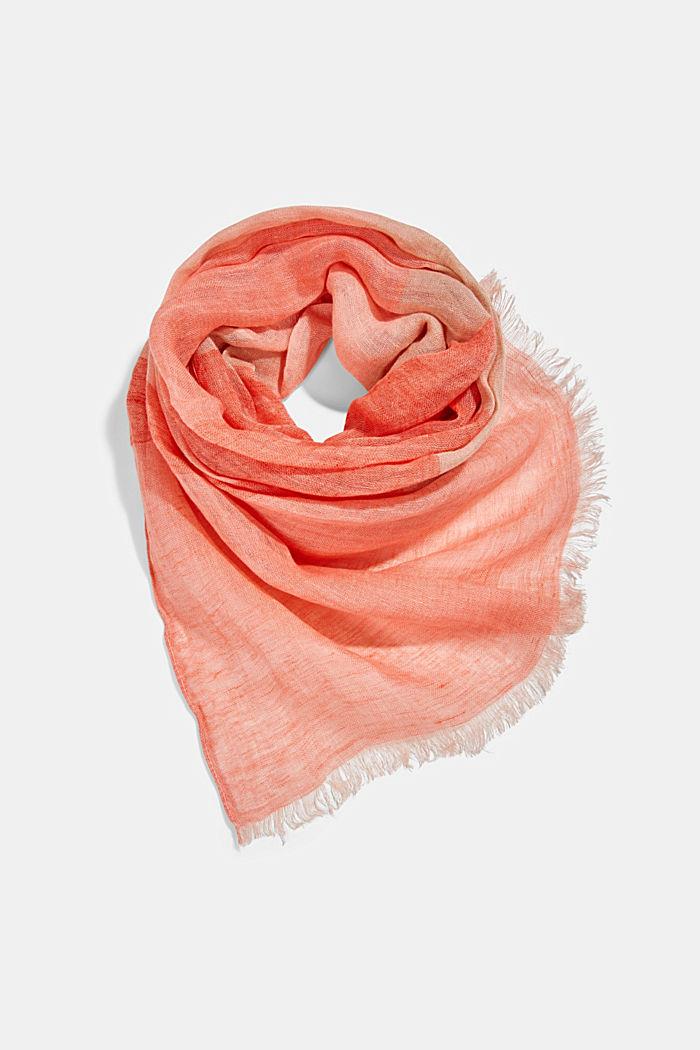 #ReimagineNaturalLifestyle: linen scarf, CORAL ORANGE, detail image number 0