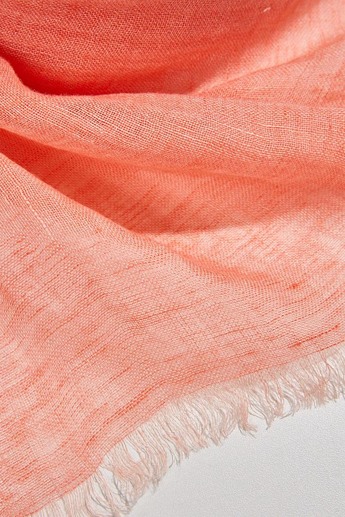 #ReimagineNaturalLifestyle: linen scarf, CORAL ORANGE, detail image number 2