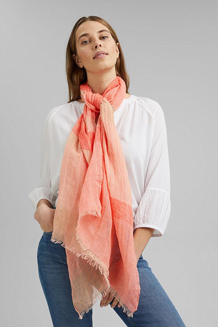 #ReimagineNaturalLifestyle: linen scarf, CORAL ORANGE, detail image number 1
