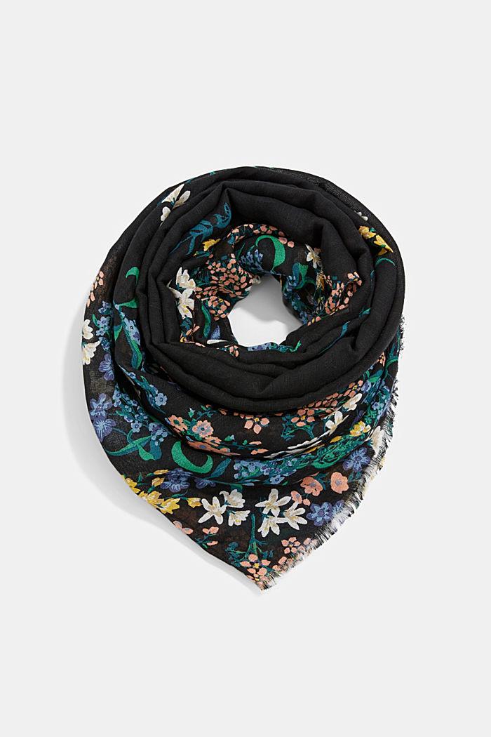 Van linnen/ECOVERO™: sjaal met print, BLACK, detail image number 0