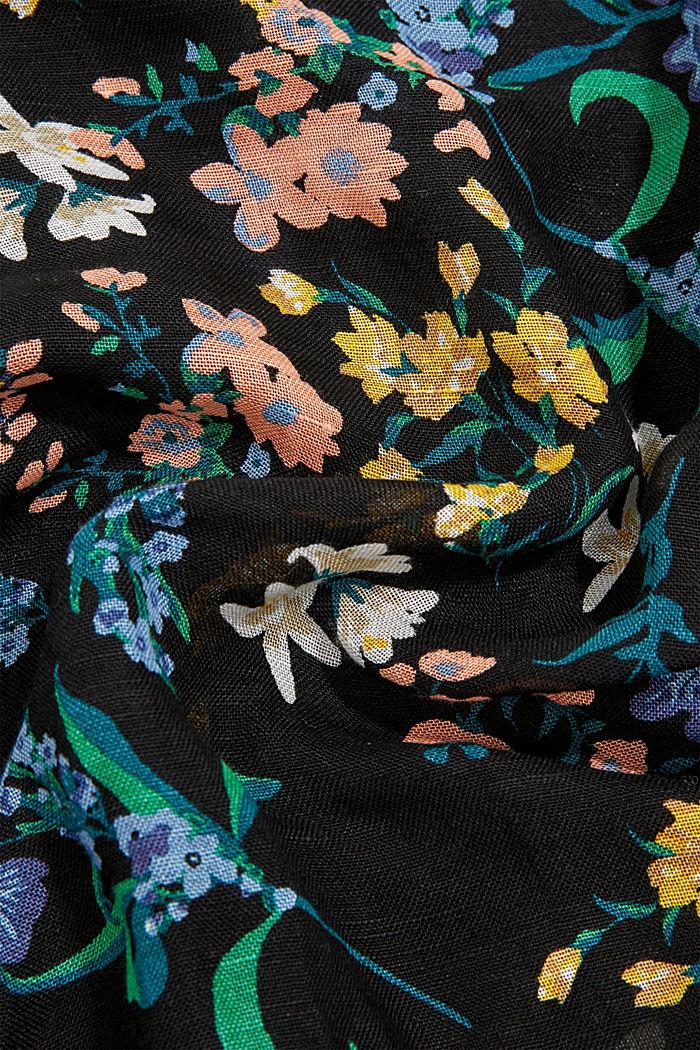 Van linnen/ECOVERO™: sjaal met print, BLACK, detail image number 2