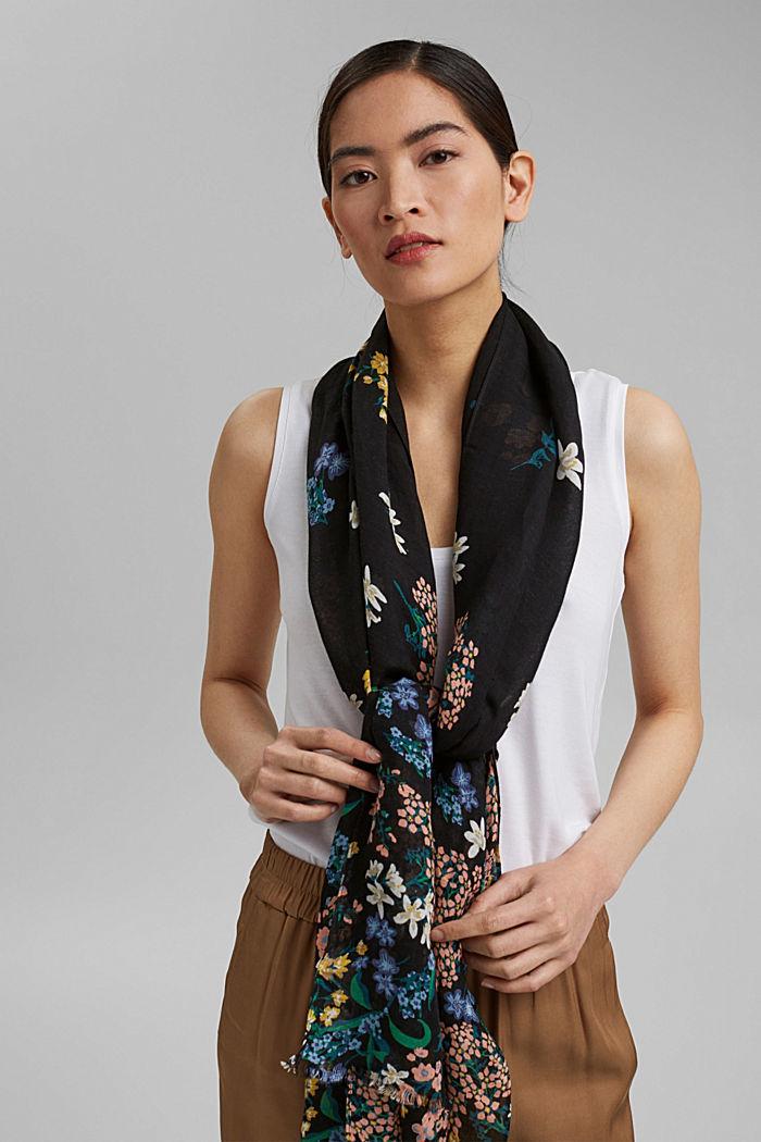 Van linnen/ECOVERO™: sjaal met print, BLACK, detail image number 1