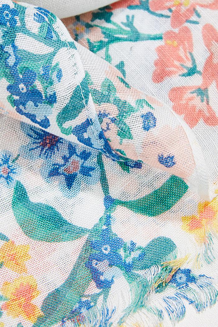 En lino/ECOVERO™: pañuelo con estampado, OFF WHITE, detail image number 2