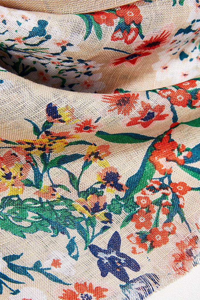 En lin /ECOVERO™: le foulard à imprimé, SAND, detail image number 2