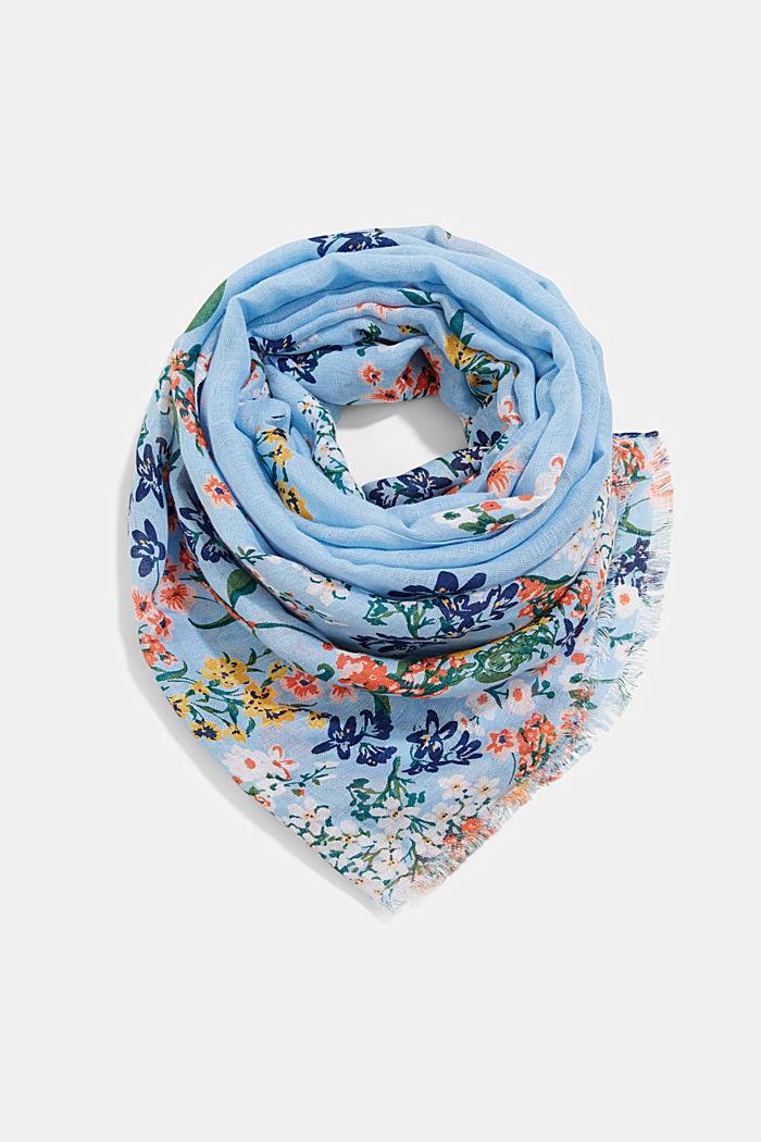 Van linnen/ECOVERO™: sjaal met print, LIGHT BLUE, detail image number 0
