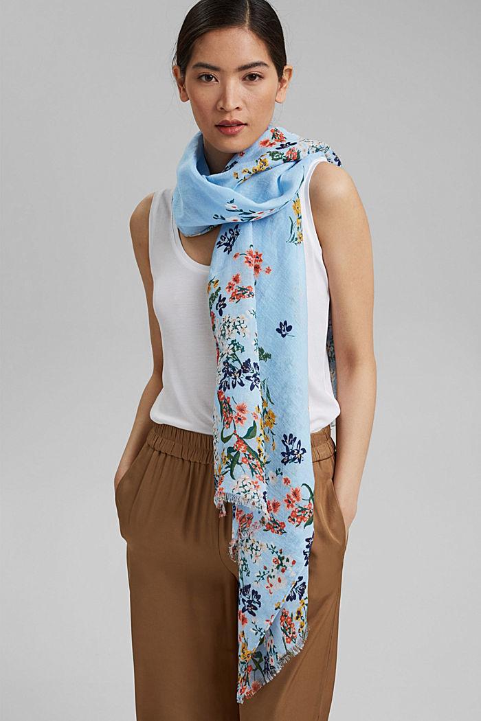Van linnen/ECOVERO™: sjaal met print, LIGHT BLUE, detail image number 3
