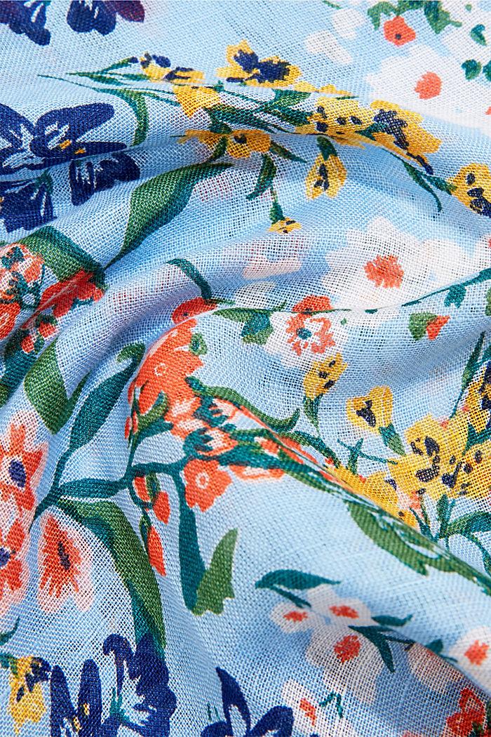 Van linnen/ECOVERO™: sjaal met print, LIGHT BLUE, detail image number 2
