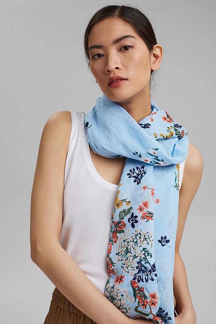 Van linnen/ECOVERO™: sjaal met print, LIGHT BLUE, detail image number 1