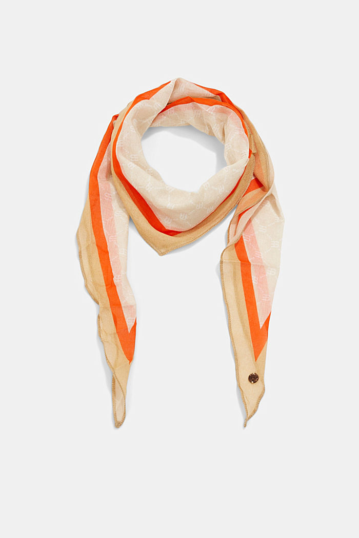 Scarf with a monogram print, organic cotton
