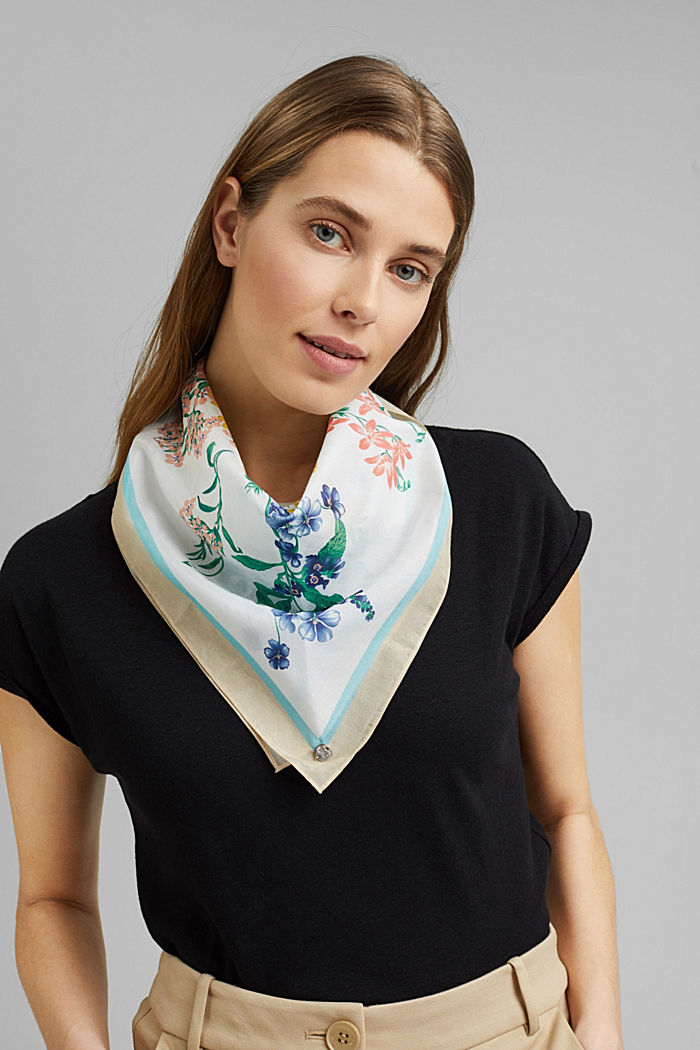 Silk blend: scarf with floral pattern, OFF WHITE, detail image number 1