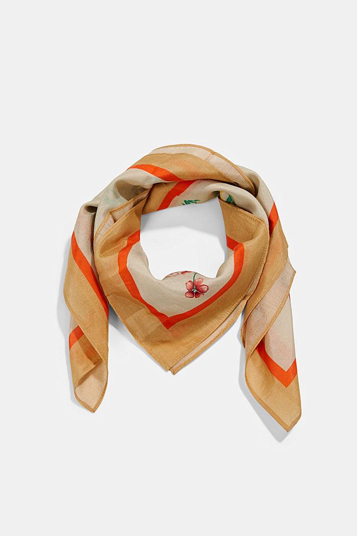 Met zijde: sjaal met bloemenmotief, SAND, detail image number 0