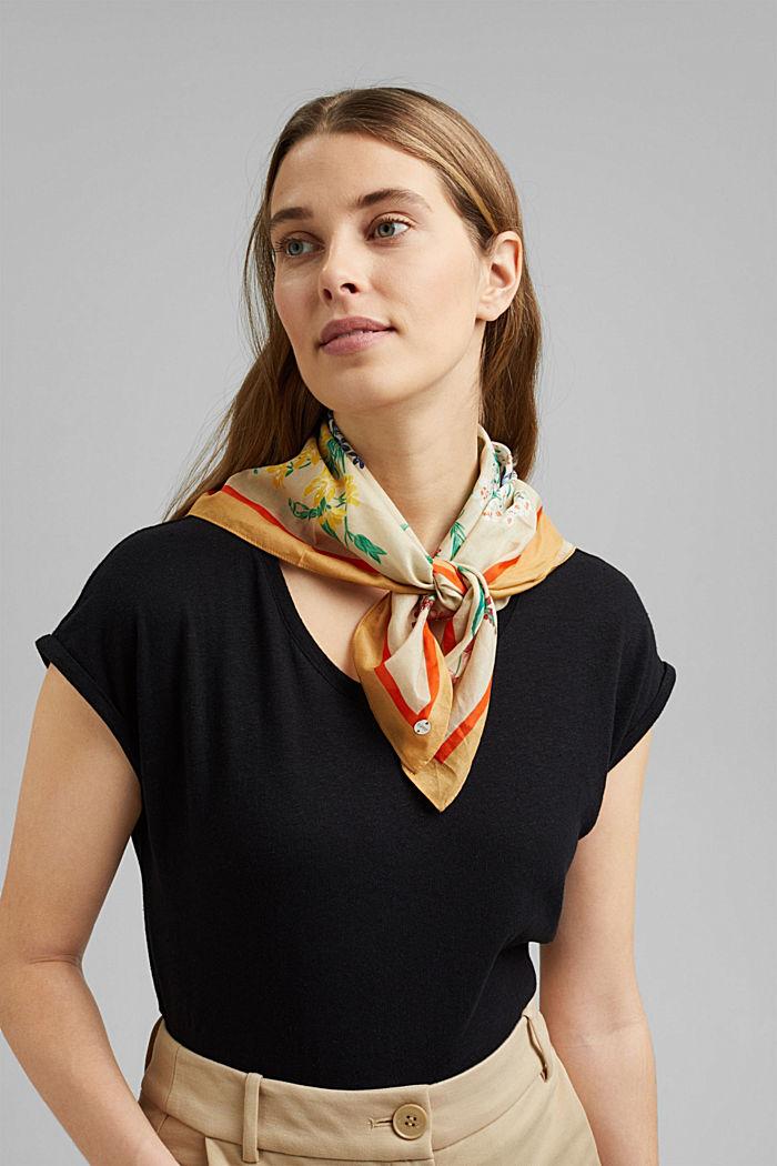 Met zijde: sjaal met bloemenmotief, SAND, detail image number 1