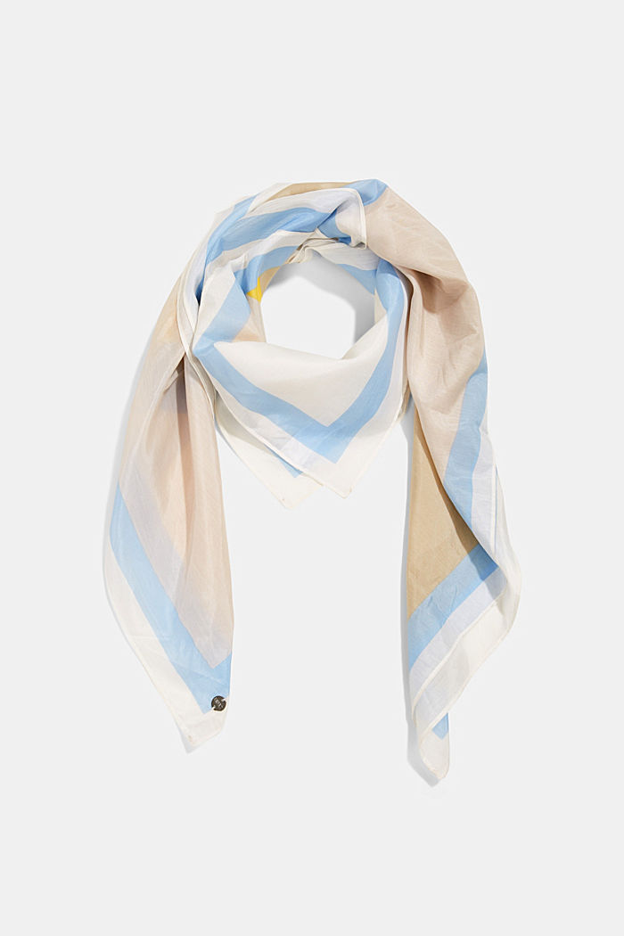 Silk blend: square scarf with print, OFF WHITE, detail image number 0