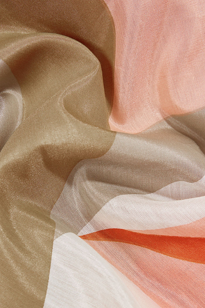 Silk blend: square scarf with print, SAND, detail image number 2