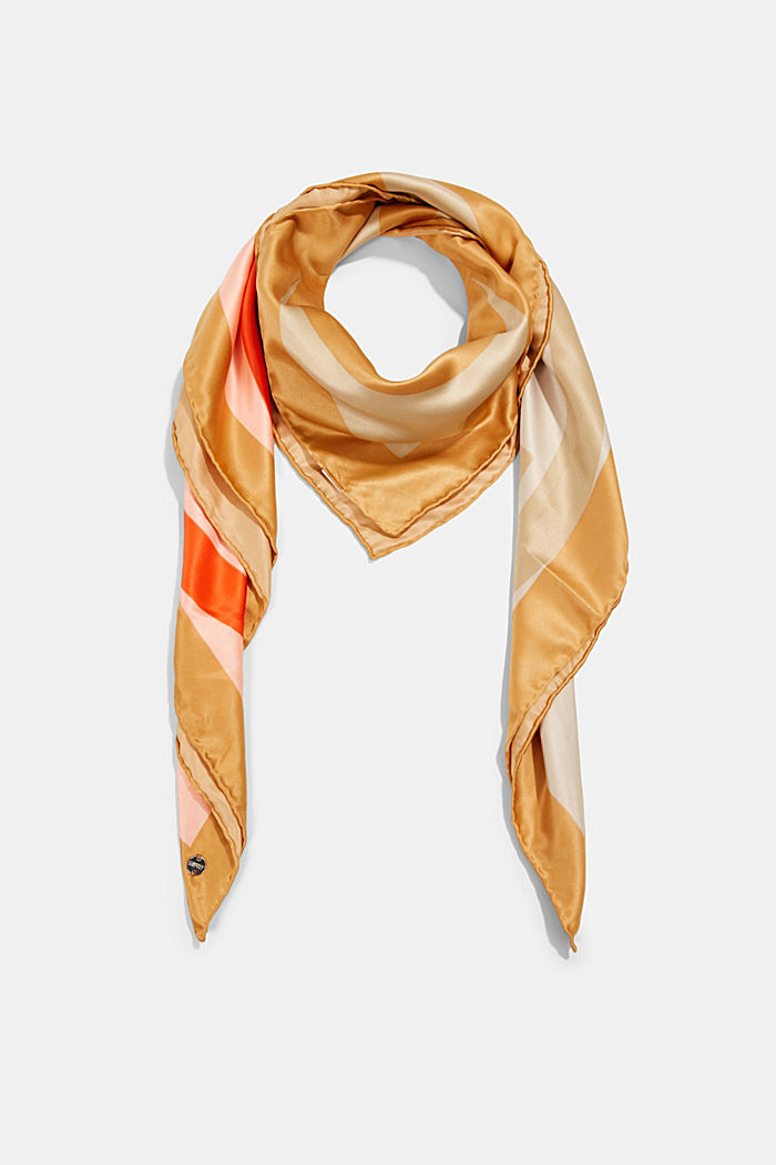 Monogram scarf with a satin finish, CAMEL, detail image number 0