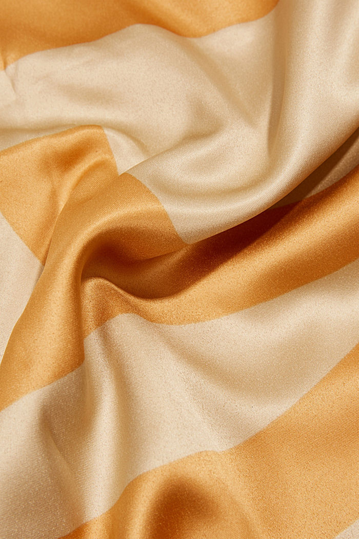 Monogram scarf with a satin finish, CAMEL, detail image number 2