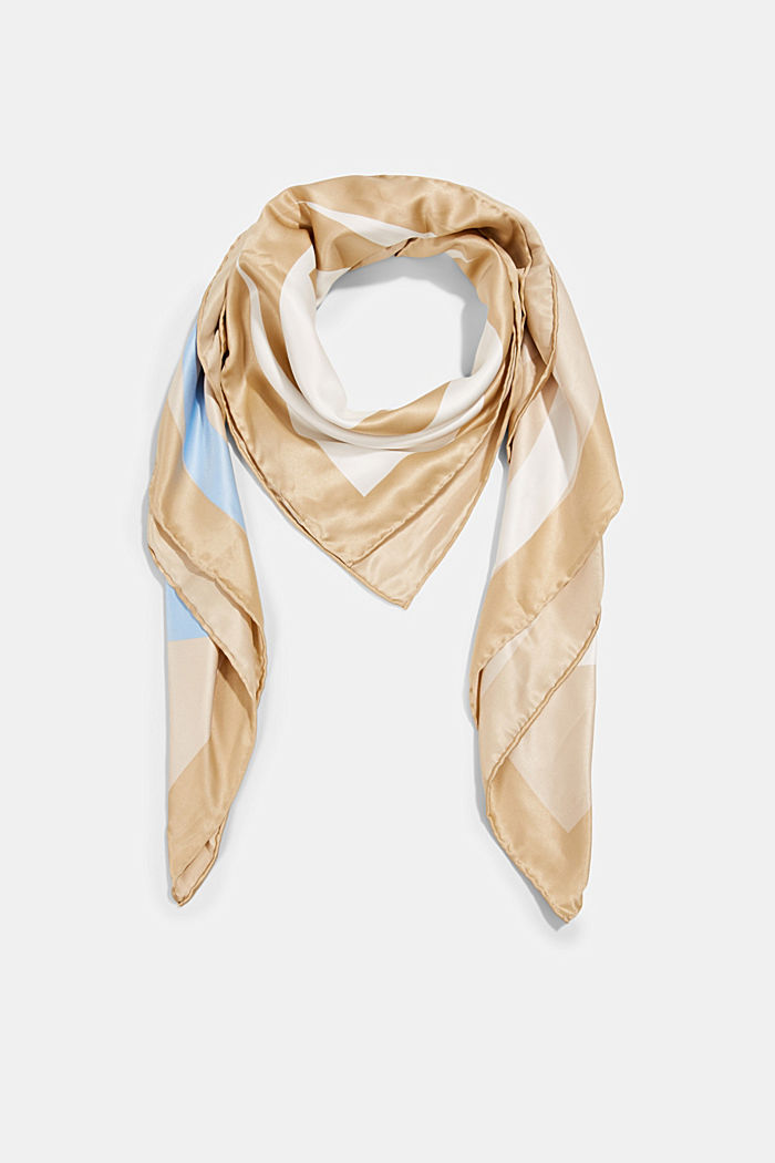 Monogram scarf with a satin finish, SAND, detail image number 0