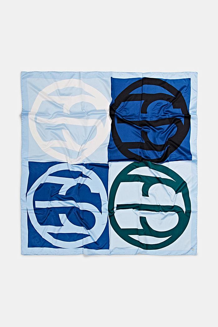 Sjaal met satijnen look en monogram, GREY BLUE, detail image number 3