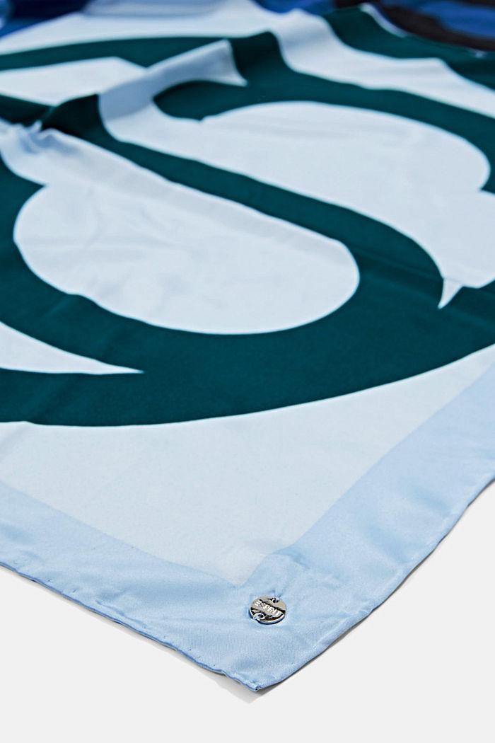Sjaal met satijnen look en monogram, GREY BLUE, detail image number 2