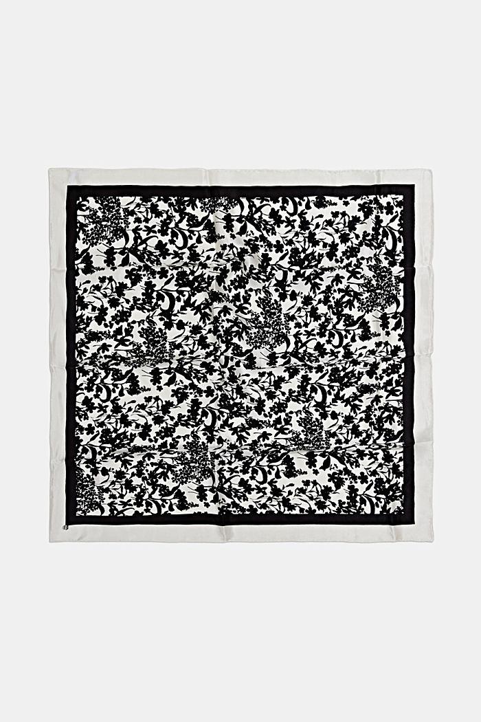Van 100% zijde: sjaal van bloemenmotief, BLACK, detail image number 3