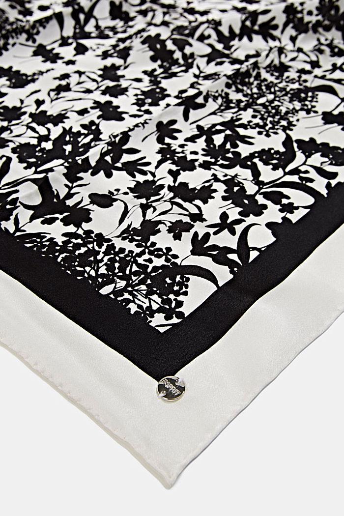 Van 100% zijde: sjaal van bloemenmotief, BLACK, detail image number 2