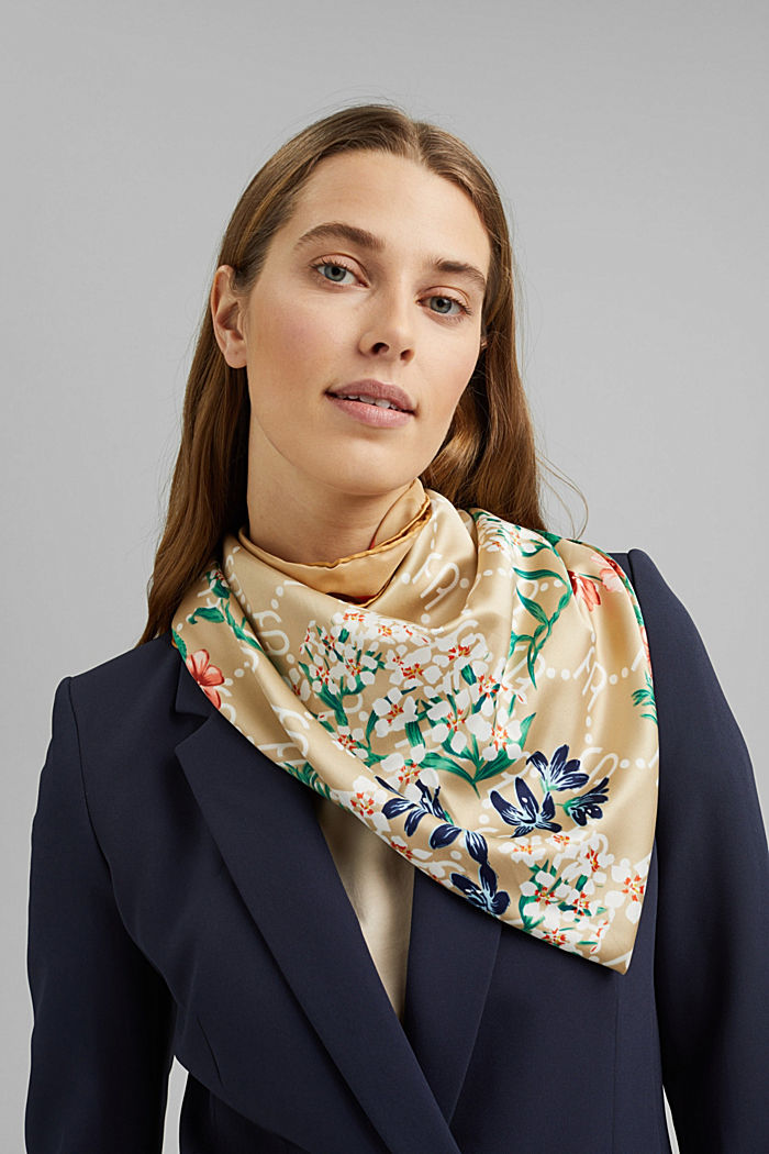 Recycled: Scarf with a satin finish, SAND, detail image number 1