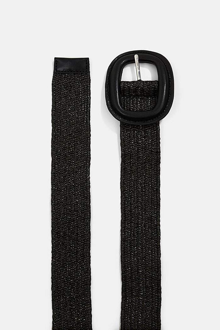 Elasticated woven belt with a leather buckle, BLACK, detail image number 1