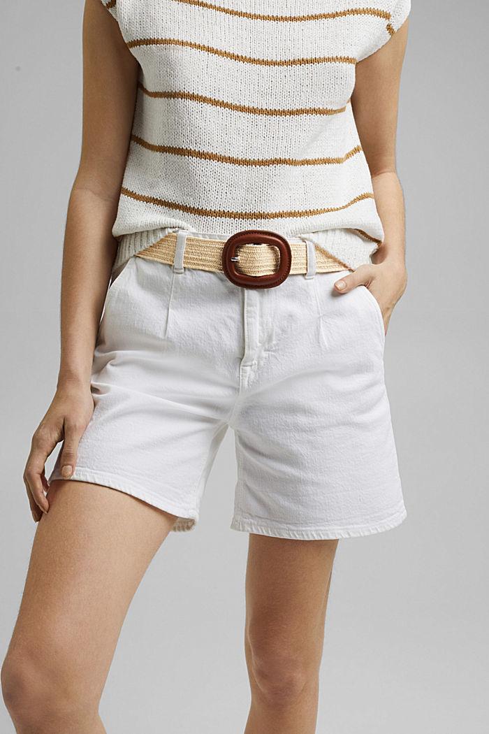 Cinturón de tejido elástico con hebilla de piel
