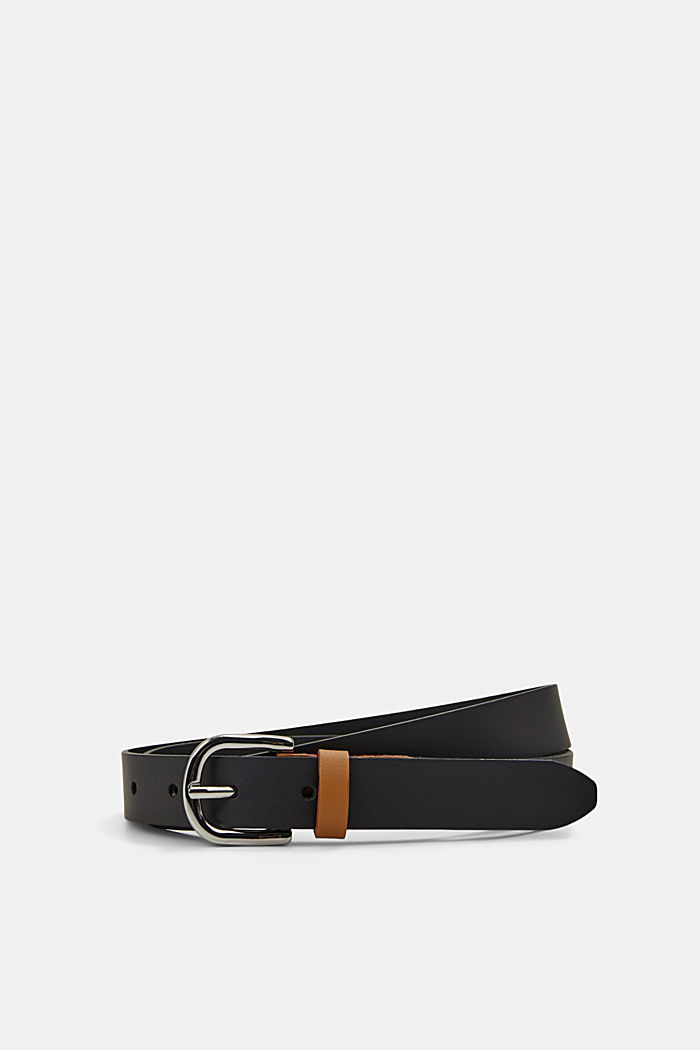Two-tone effect leather belt, BLACK, detail image number 0
