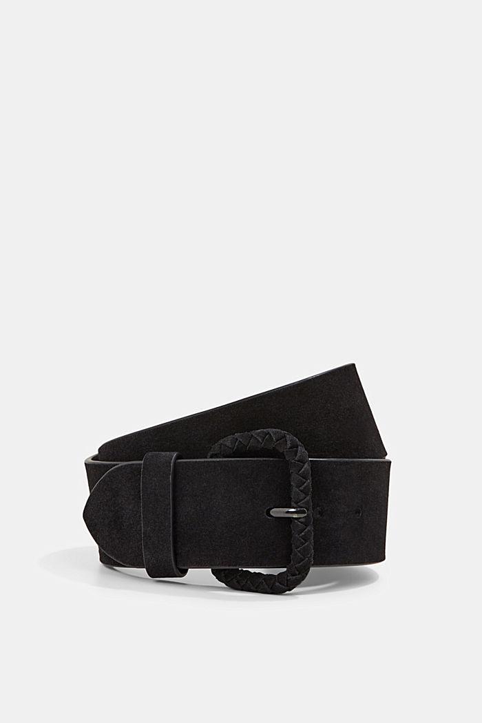 Cinturón ancho de ante curtido sin empleo de cromo