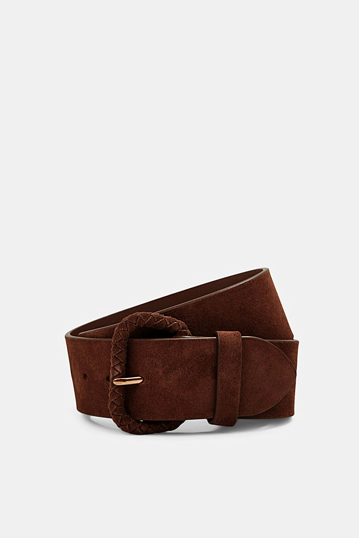 Wide suede belt, chrome-free tanned, RUST BROWN, detail image number 0