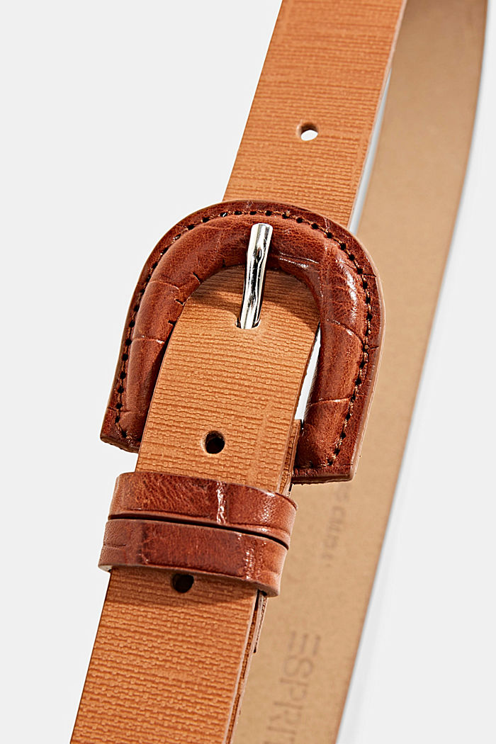 Aus Leder: Gürtel mit überzogener Schließe, CARAMEL, detail image number 3