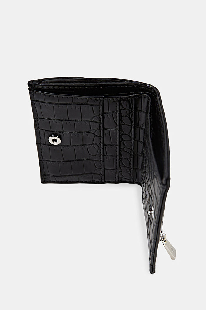 Small monogram wallet made of faux leather, BLACK, detail image number 3