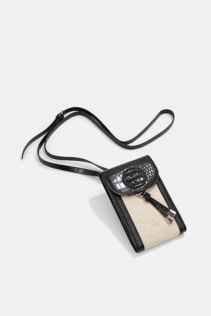 Smartphonetasje van een materiaalmix met linnen, BLACK, detail image number 0
