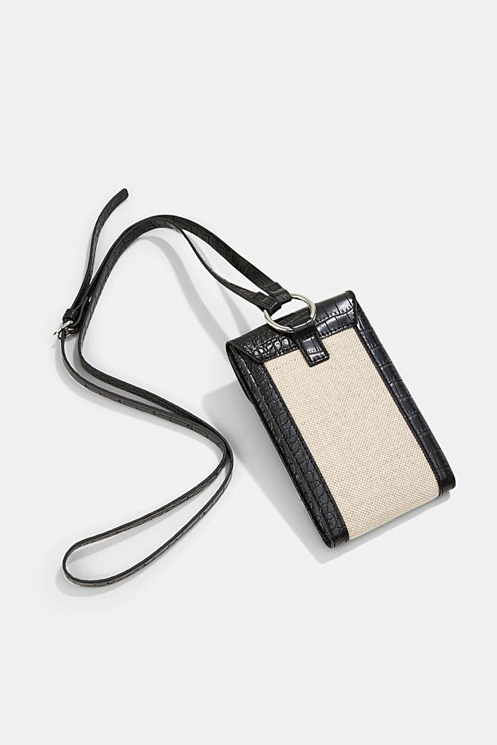 Smartphonetasje van een materiaalmix met linnen, BLACK, detail image number 2