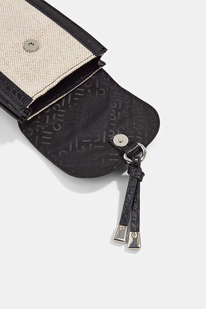 Smartphonetasje van een materiaalmix met linnen, BLACK, detail image number 3