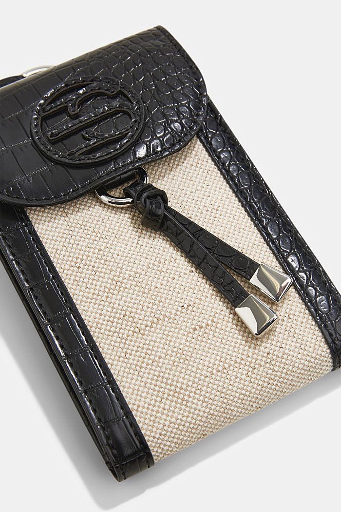 Smartphonetasje van een materiaalmix met linnen, BLACK, detail image number 1