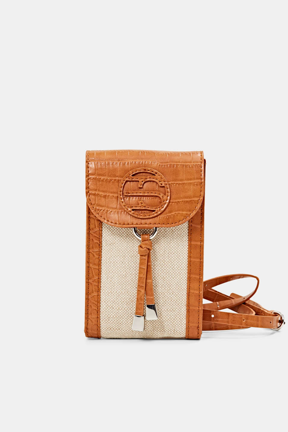 Esprit - Mixed material phone bag with linen