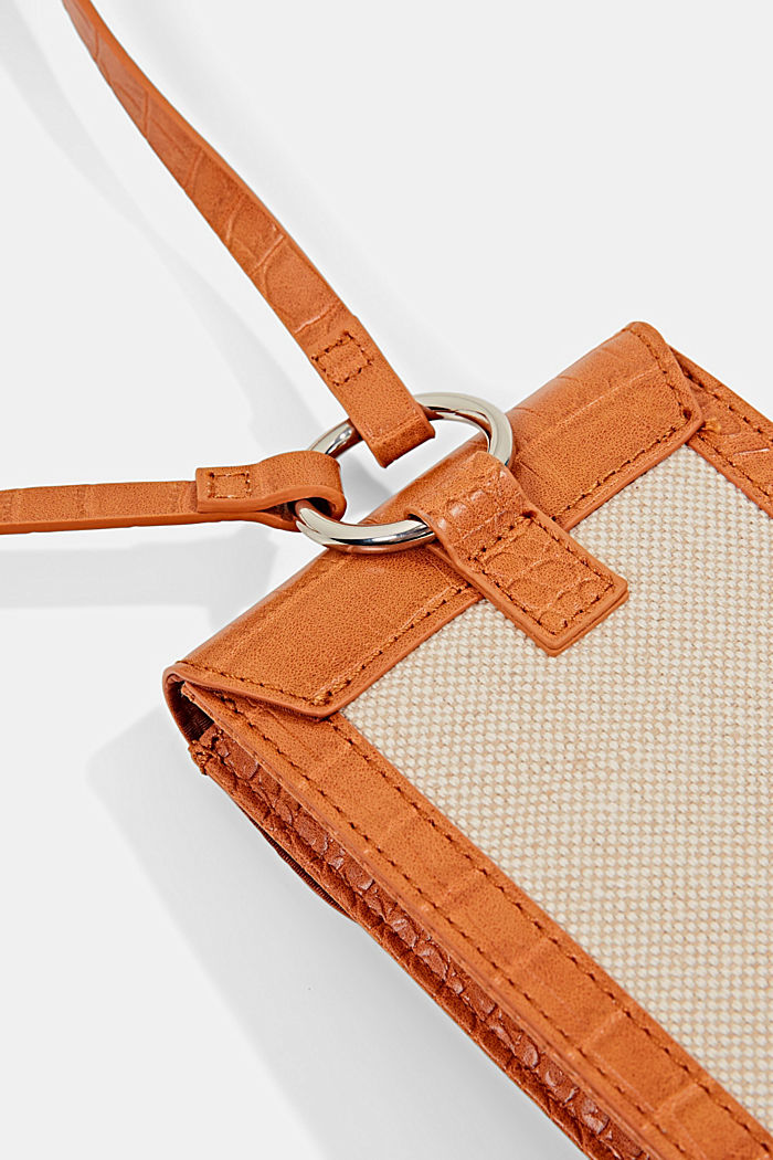 Mixed material phone bag with linen, CARAMEL, detail image number 2