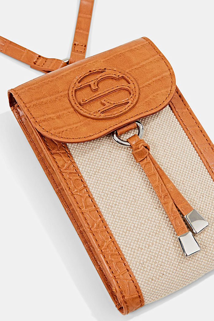 Mixed material phone bag with linen, CARAMEL, detail image number 1