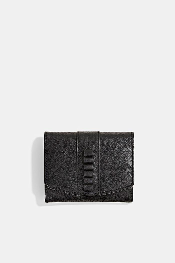 Billetera pequeña de piel, BLACK, detail image number 0