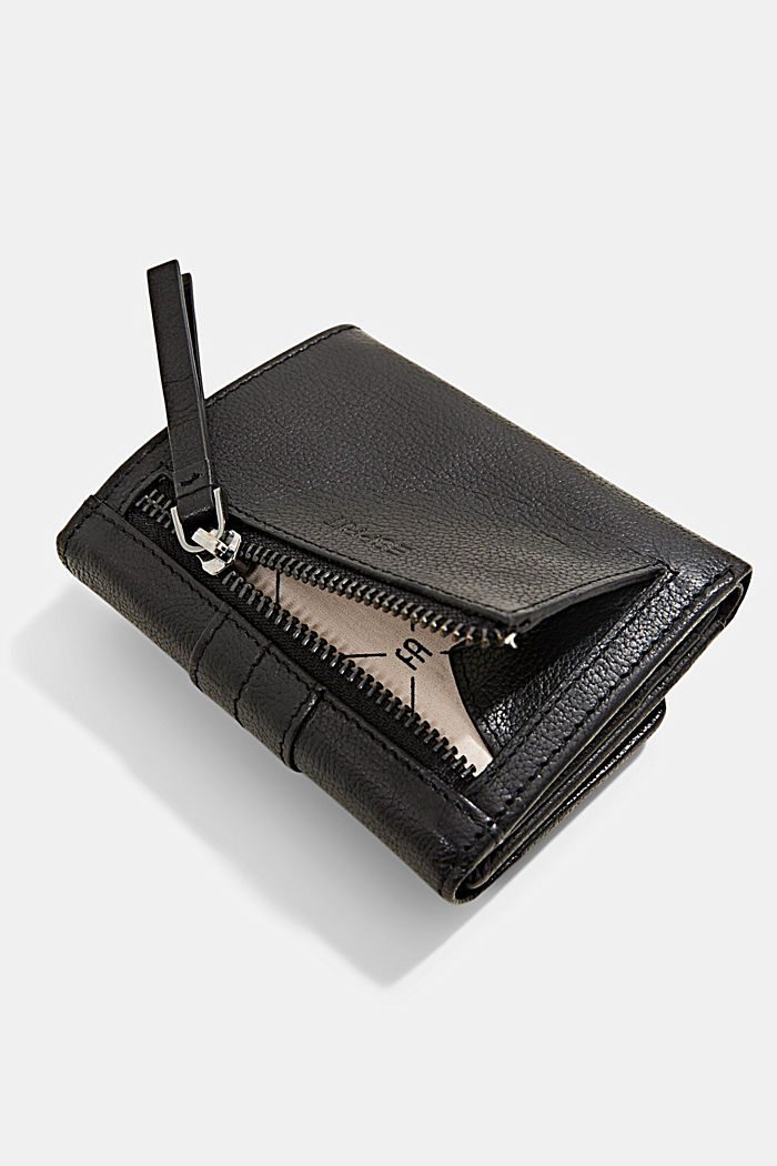 Billetera pequeña de piel, BLACK, detail image number 1