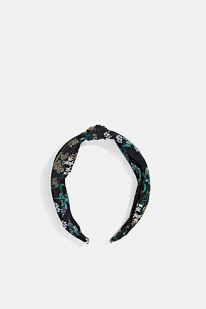 Mit Seide: Haarband mit Blumenmuster, BLACK, detail image number 0