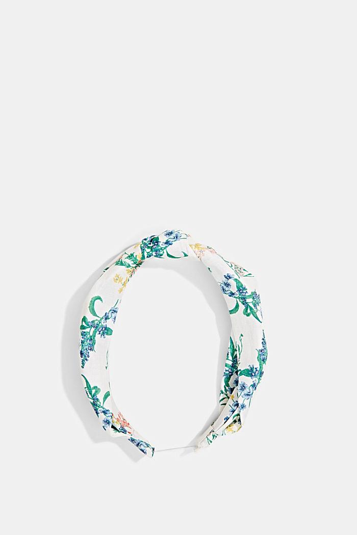 Mit Seide: Haarband mit Blumenmuster, OFF WHITE, detail image number 0