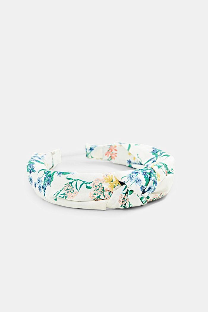 Mit Seide: Haarband mit Blumenmuster, OFF WHITE, detail image number 1
