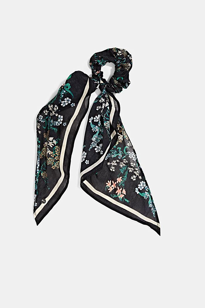 Met zijde: scrunchy met bloemenmotief, BLACK, detail image number 0