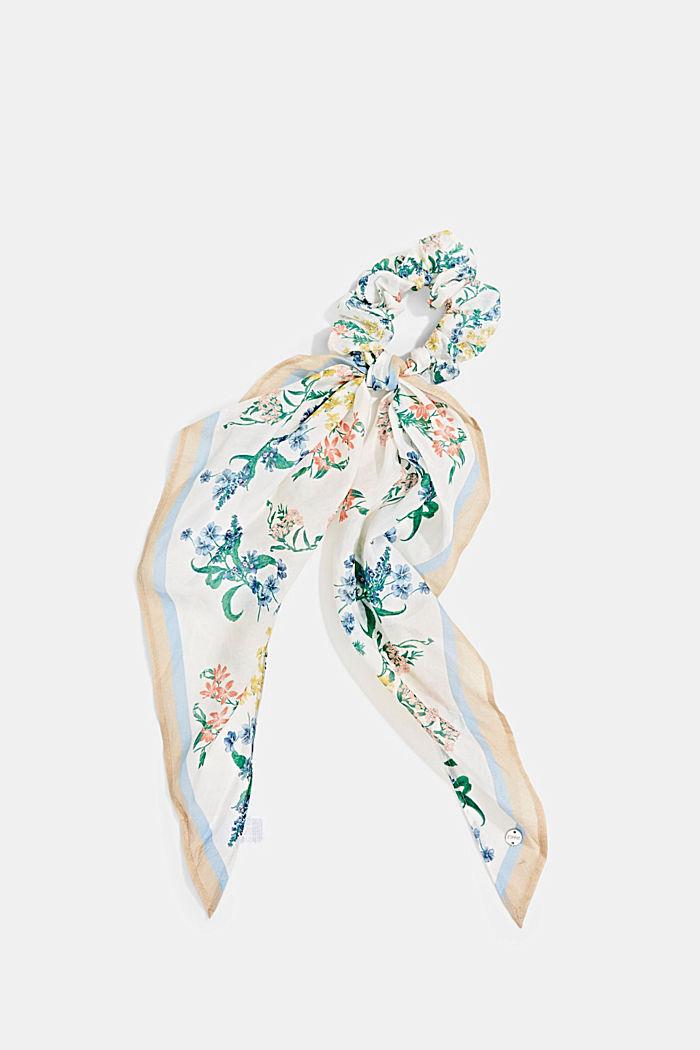 Mit Seide: Scrunchy mit Blumen-Muster, OFF WHITE, detail image number 0