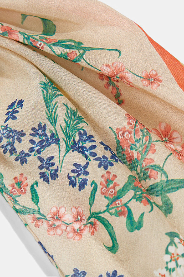 Met zijde: scrunchy met bloemenmotief, SAND, detail image number 1
