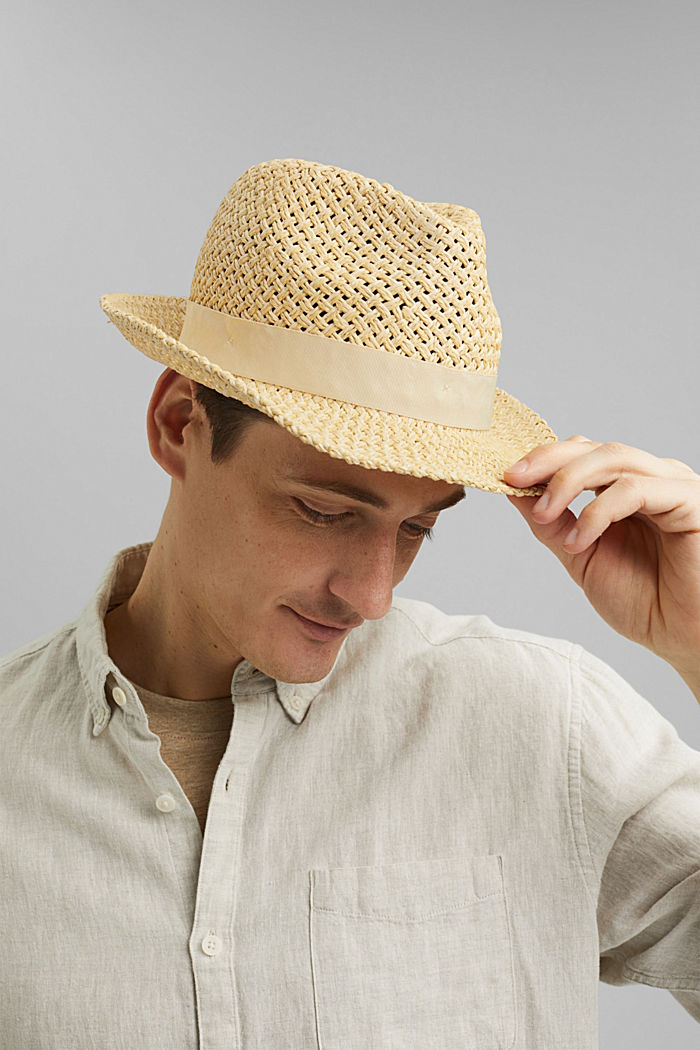 Trilby hat made of bast with a grosgrain ribbon